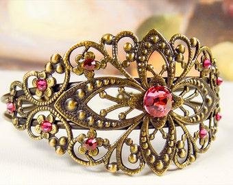 Bracelet, cuff bracelet, brass bracelet, Swarovski rose crystals, adjustable bracelet, floral cuff bracelet