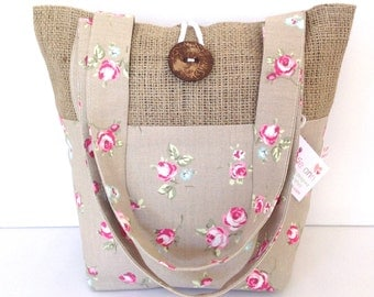 Taupe Rosebud and Hessian Tote Bag, Small Lunch Bag, Small Tote Bag