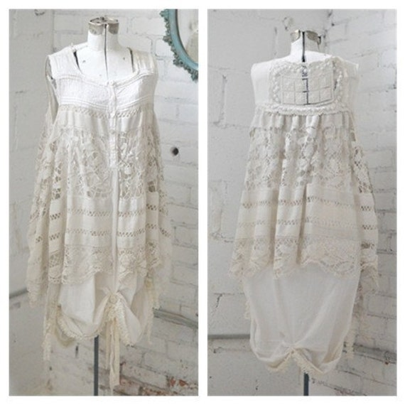 Shabby White Antique Lace Country Dress Shabby Chic Wedding
