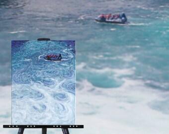 Whitewater river painting, blue decor, original painting, NZ boat art, jet boat Huka Falls New Zealand adventure sports, free shipping