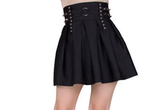 black skater skirt high waisted skirt by vrolokclothing
