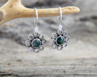 Silver Moss Agate Earrings, Sterling Silver Agate Dangle Earrings