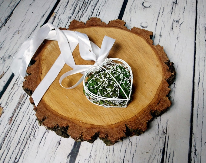 Romantic natural moss White wedding rings box vintage metal heart pillow rustic shabby chic off white satin ribbon bow
