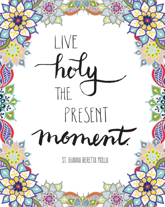 "Floral Handlettered ""Live Holy"" Inspirational Christian Saint Quote Digital 8x10 Download with Bonus FB Cover Image"