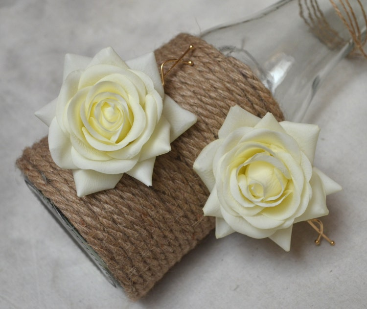 Real Flower Bridal Hair Accessories : A pair wedding flower hair clips real touch cream by