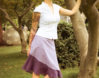 SALE -50%! Purple Papaya - a light cotton wrap around skirt made out of block printed cotton - fair trade produced
