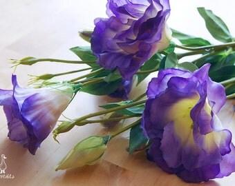 Purple and Apple Green Eustoma Flower – silk flower – artificial flower – DIY bride – wedding decor – millinery - bouquet (FB29-1)