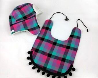 Baby & Toddler Trapper Hat With Fringe Boho Bib - Girls Bomber Hat - Aviator Hat - Lumberjack Hat - Hipster Baby Hat - First Birthday Gift