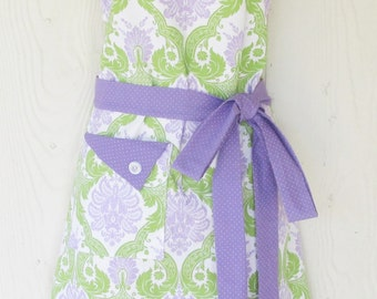 Womens Damask Apron, Retro Style Full Apron, Lavender and Green, Polka Dots, KitschNStyle