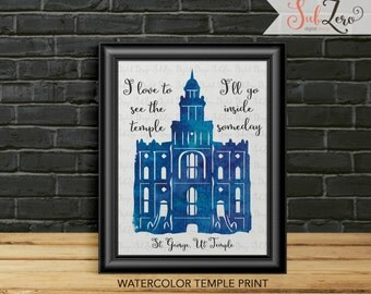 LDS Temple Print, St. George Utah Temple, Watercolor temple print, I love to see the temple,  8x10 Printable Temple, LDS Temple