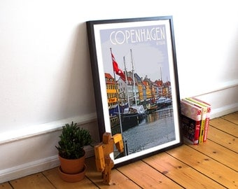 Copenhagen - Nyhavn - Landmark Postcard Style Art Print (Available In Many Sizes)