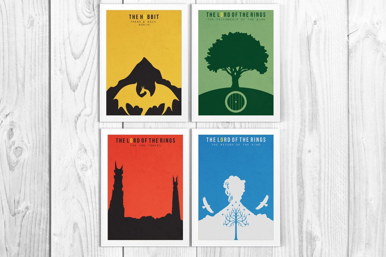 Lord of the Rings Minimalist Print Set - LOTR - Minimalist Posters - Fellowship - Two Towers - Hobbit - Return of the King - Set of Four