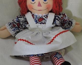Cloth Doll, Patriotic Raggedy Ann - 15 inches