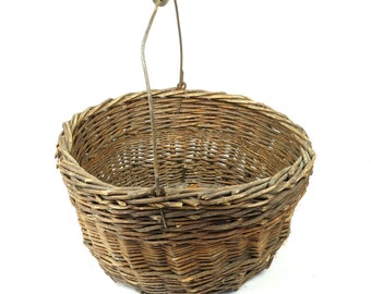 """Old Basket 8.5"""" With Metal Wooden Handle Hand-made Brown Earthy Earth Woven Medium Large Decorative Decor Primitive Yellow Color"""
