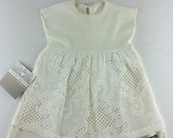 Organic Cotton baby dress with crochet overlay skirt