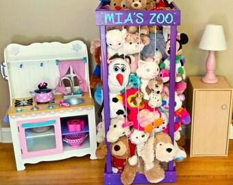 "2', 32"", 3', 4' Stuffed Animal Zoo, Wood Animal Holder, Storage, Stuffed Animal Organizer, Kids Gifts, Ball Storage, Birthday Gift"