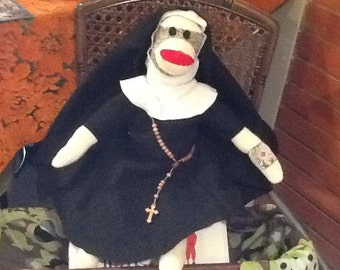 Nun sock monkey doll