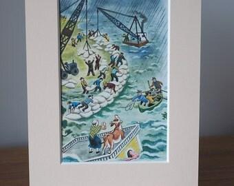 Nursery print - Stormy seas - Vintage children's book illustration - 6x4 mounted print