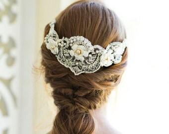 Bridal Lace Headpiece, Wedding Lace Headpiece, wedding hair accessories, Bridal Headpiece, Lace Wedding Headpiece, Vintage Lace Headpiece