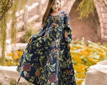 Anysize with pockets V-neck padded Winter Dress plus size dress plus size clothing F8A