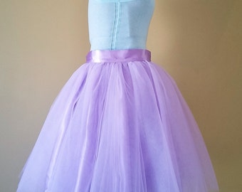 Lilac tulle skirt, Adult sewn tutu, purple pastel, knee length, short wedding skirt, plus size clothing, satin waistband, 4 layers Tulle