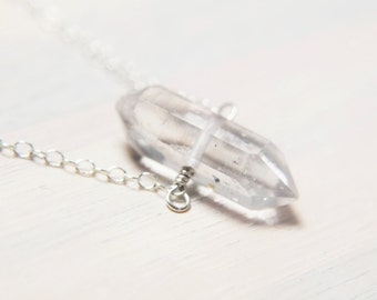 Herkimer Necklace, Rough Crystal Necklace, Crystal Point Necklace, Dainty Necklace, Delicate Jewelry