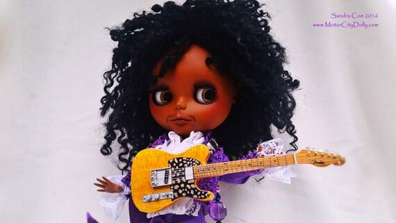 """Prince, a Custom OOAK Blythe Doll by Sandra Coe (Custom #19) Art Doll 12"""" Figure, with Black Teeswater Hair"""