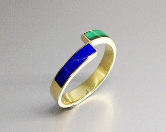 Playful and elegant ring with Malachite, Lapis Lazuli and 18K gold - gift idea- blue and green band - solid gold inlay work - special design