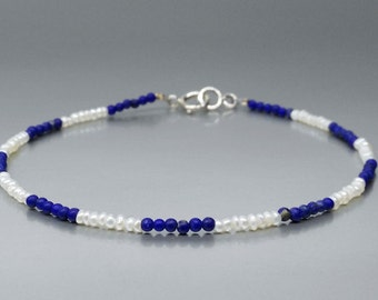 Fine bracelet of Lapis Lazuli and freshwater pearls with Sterling silver - gift idea