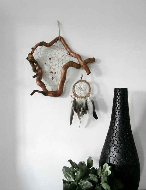 Dream Wood Wall Decor : Large dream catcher rustic wall hanging unusual bohemian