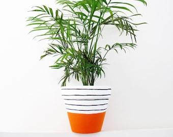 Hand Painted Orange Stripe Plant Pot - 15cm