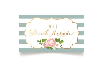 The Kelly . Escort Cards PRINTED Tent Cards . Stripes & Copper Rose Gold Foil Calligraphy . White Rose Pink Peony . Name Seating Place Card