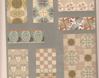 """Ornamentation Motifs Art Nouveau Le Journal De La Decoration, Wonderful Colors, 10"""" X 14""""  Old"""