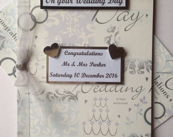 Personalised Wedding day handmade card Bride Silver White Love Marriage Engagement Confetti Large 5 x 7 inches Marriage Groom Bride Cake