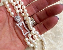Vintage DIAMOND PEARl SAPPHIRE NECkLACE  Akoya White pearls Unusual genuine Gemstone Clasp Necklace Hand Knotted Silk Classic Bridal