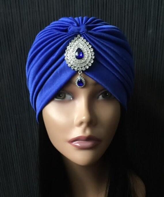 Classy And Glamorous Photo: Glamorous Classy Gatsby ROYAL BLUE Turban Silver Rhinestone