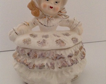 Vintage Powder Box Shopper Figurine by Wales