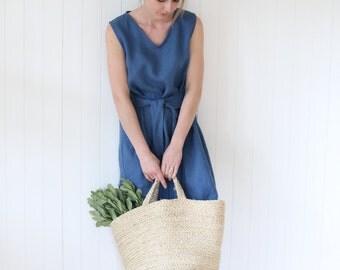 Elegant Linen Dress | Dress  With Waist Ribbon | Washed Linen Dress | Women dress | V Neckline Dress | Sleeveless Washed Linen Dress