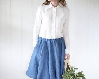 Classic linen shirt with straight collar. Women shirt. Washed linen shirt.