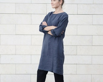 Classic casual linen working tunica/dress with side pockets in Charcoal Grey. Women dress.