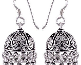 925 Jhumka Earrings,  925 Sterling Silver  Earrings,  Silver jhumka