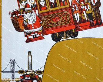 Vintage Christmas Card - 1970s San Francisco Cable Car - Used