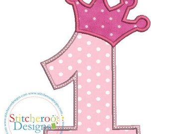 Princess Crown #1 Applique Design -In Hoop sizes 4x4, 5x7, and 9x9- Instant Download - for Embroidery Machines