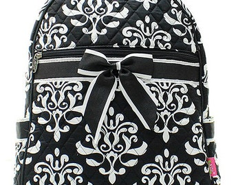 Damask Bloom Print Quilted Monogrammed Backpack Black and White