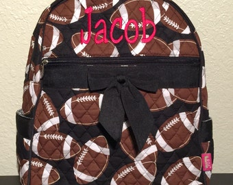 Football Print Monogrammed Quilted Backpack