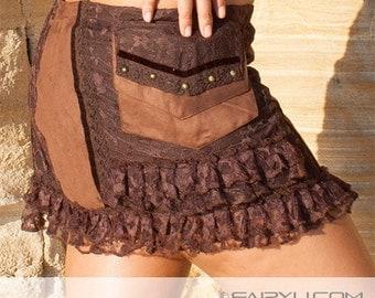Steampunk mini skirt (velvet and lace) - Fee (0023)