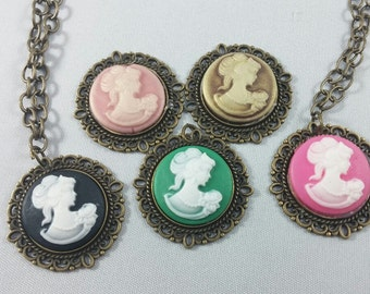 Antique Gold Silhouette Pendant Cabochon Necklace - 5 Colors