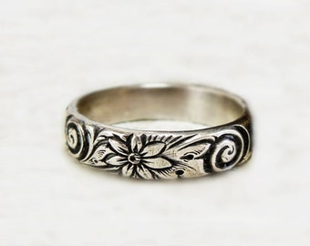 Wide Silver Floral Band, unique silver ring, flower band, designer ring, solid ring, boho ring, sterling silver band, metalwork ring, gift