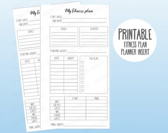 printable personal planner insert my fitness plan fitness tracker health workout