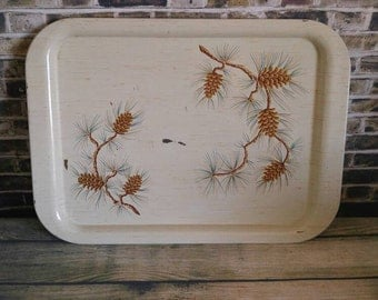 Metal TV Tray, Metal Serving Tray, Pinecone Tray